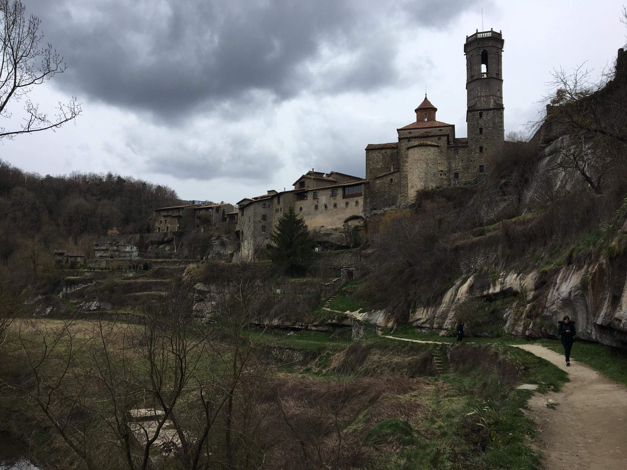 A medieval village and a giant waterfall